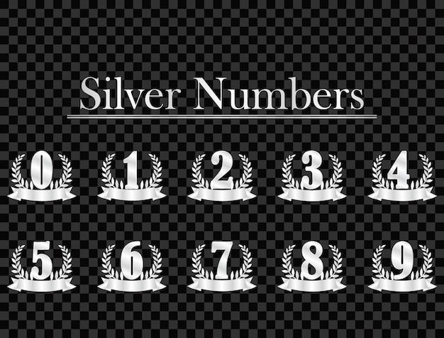 Silberne zahlen auf transparentem hintergrund