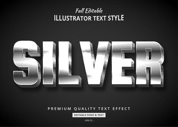 Silberner 3d-textstil-effekt