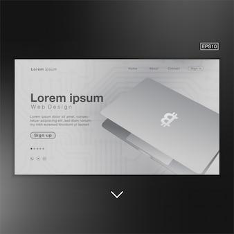 Silberner auszug des bitcoin-laptops für homepage