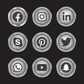 Silberner balck und weißer fester glänzender 3d-gradientenknopf der sozialen medien gesetzt mit runden symbol des social-media-logos