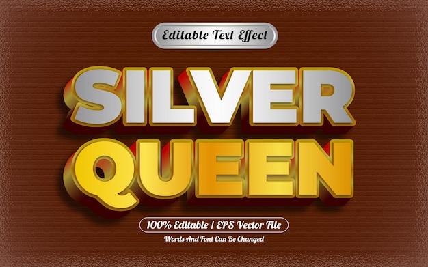 Silberner bearbeitbarer texteffekt mit goldmotiv