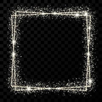 Silberner doppelter quadratischer rahmen. moderner glänzender rahmen mit lichteffekten einzeln auf dunklem transparentem hintergrund. vektor-illustration.