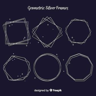Silberner geometrischer rahmensatz
