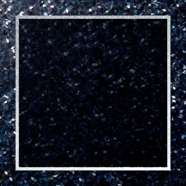 Silberner glitzernder quadratischer rahmen