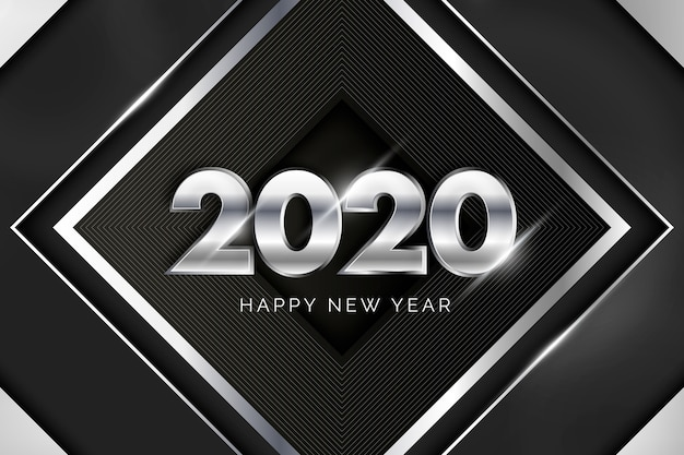 Silberner hintergrund 2020 des neuen jahres