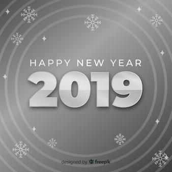 Silberner hintergrund des neuen jahres 2019