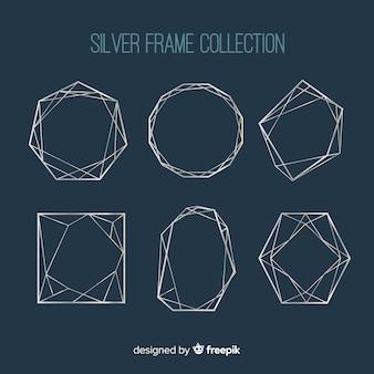 Silberner rahmensatz der metallischen beschaffenheit