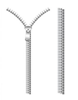 Silberner reißverschluss getrennt über weiß