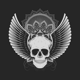 Silberner schädel mit engelsflügeln