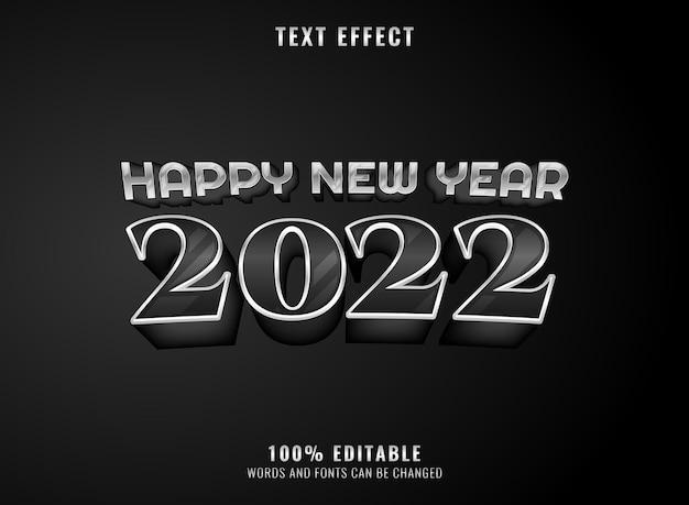 Silberner schwarzer luxus 2022 bearbeitbarer texteffekt des neuen jahres