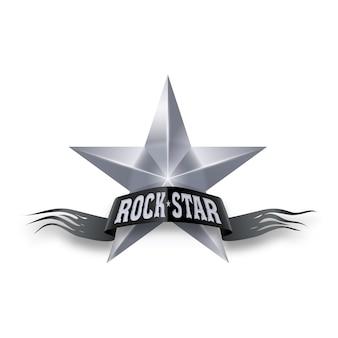Silberner stern mit rockstar-banner