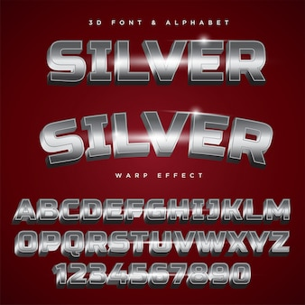Silberner stilisierter beschriftungstext 3d