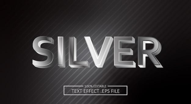 Silberner textstil-effekt. bearbeitbarer schriftstil