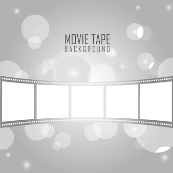 Silbernes filmband mit kreisen über silbernem hintergrundvektor