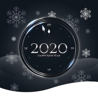 Silbernes neues jahr 2020 mit schneeflocken