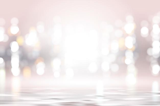 Silberrosa bokehhintergrund, glühender und schimmernder tapetendesign in der 3d-illustration