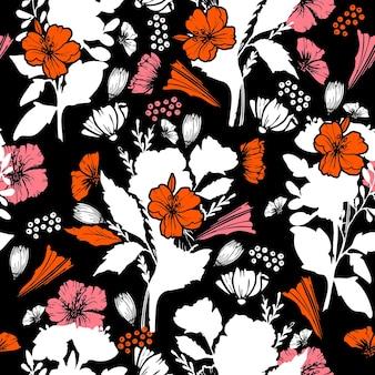 Silhouette abstraktes nahtloses muster mit blättern und blühenden gartenblumen mit blumenvektor