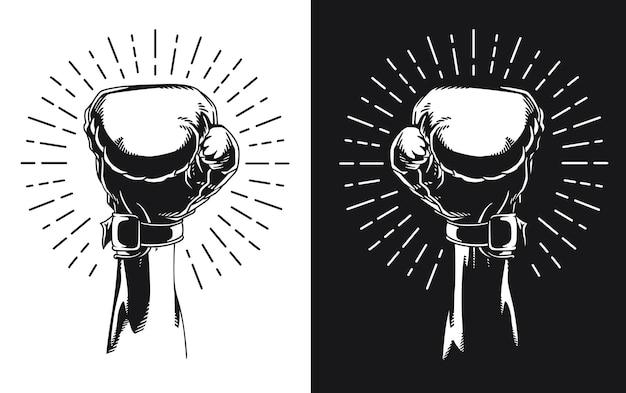 Silhouette angehobener hand, der boxhandschuh trägt