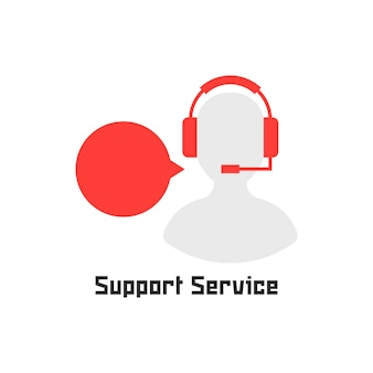 Silhouette-assistent wie support-service. konzept der sekretärin, live-feedback, beratung, technischer berater. isoliert auf weißem hintergrund. flacher stil trend moderne logo-design-vektor-illustration