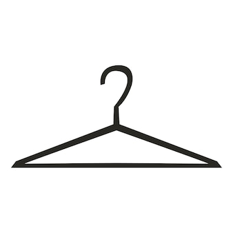 Silhouette-aufhänger. logokonzept der kleideraufbewahrung. vektor auf weißem hintergrund.