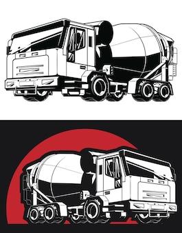 Silhouette betonmischer zement lkw baufahrzeug Premium Vektoren