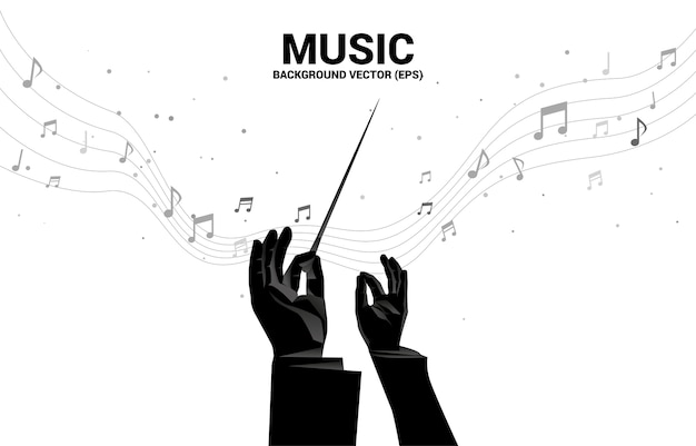 Silhouette der dirigentenhand mit musikmelodienoten-tanzfluss. konzepthintergrund für konzert und erholung der klassischen musik.