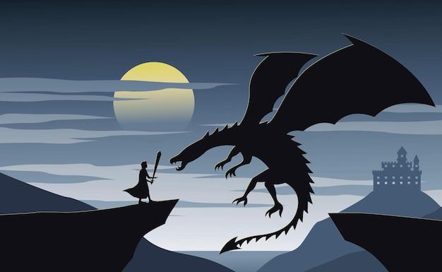 Silhouette der fiktion mit ritter- und drachenillustration