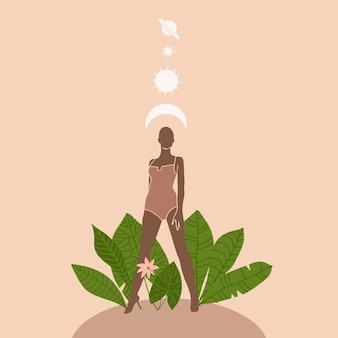 Silhouette der frau gegen blätter und pflanzen, die sonne und das mon über ihrer illustration im boho-stil