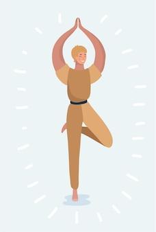 Silhouette der frau in yoga-pose