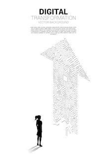 Silhouette der geschäftsfrau, die mit dem pfeilpunkt steht, verbinden den leiterplattenstil. banner der digitalen transformation des geschäfts.
