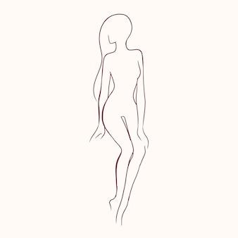 Silhouette der hübschen schlanken nackten langhaarigen frauenhand gezeichnet mit konturlinien.