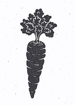 Silhouette der karotte mit einem stiel von blättern vektor-illustration gesundes vegetarisches essen
