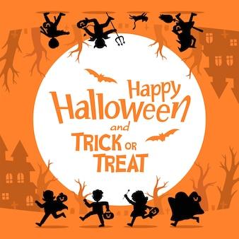 Silhouette der kinder im halloween-kostüm zum mitnehmen süßes oder saures. vorlage für werbebroschüre. fröhliches halloween.