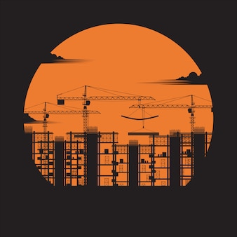 Silhouette der konstruktion. bauen unter baustelle, baukonzept, stadthäuser, kran, stahlbetonblöcke, industrie, sonnenuntergangshintergrund