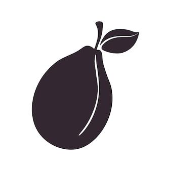 Silhouette der pflaume mit stiel und blatt gesundes vegetarisches essen vector illustration