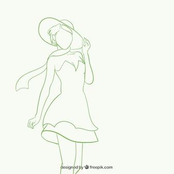Silhouette der schönen frau in skizzenhaften stil