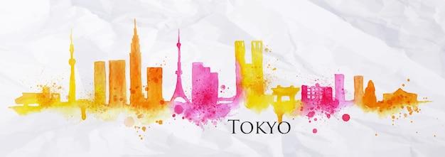 Silhouette der stadt tokio