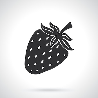 Silhouette der süßen erdbeere gesundes essen vorlage oder muster vektor-illustration