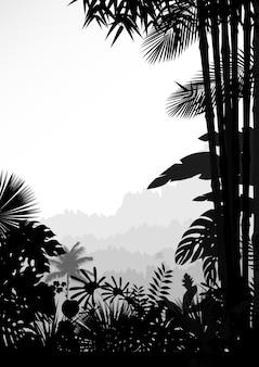 Silhouette der tropischen waldlandschaft