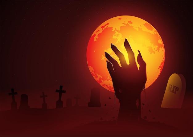 Silhouette der zombiehand, die aus dem grab aufsteigt, geeignet für horror- oder halloween-themen