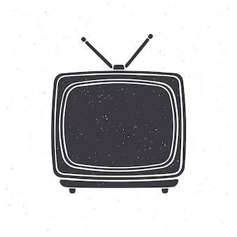Silhouette des analogen retro-fernsehens mit antenne und kunststoffkörper vector illustration