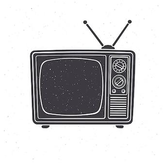 Silhouette des analogen retro-fernsehens mit antennenkanal und signalwähler vector illustration