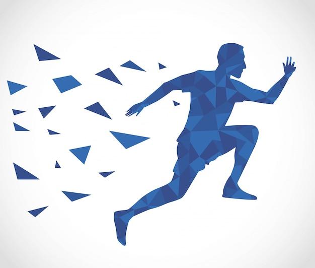 Silhouette des athletischen mannes, der läuft