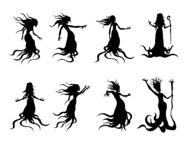 Silhouette des fliegenden bösen frauengeistes wie eine hexe, die einen zauberstab in der stilsammlung hält. illustration über flüstergeist und fantasie.