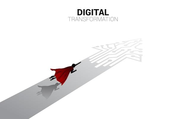 Silhouette des fliegens auf dem pfeilpunkt verbinden das konzept der digitalen transformation im leiterplattenstil