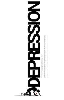 Silhouette des geschäftsmannes auf knie mit großer depression auf dem rücken. konzept für fehlgeschlagene und depressive menschen.
