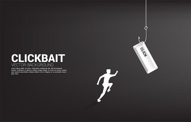 Silhouette des geschäftsmannes, der mit klickknopf zum angelhaken läuft. banner für clickbait und digitales phishing.