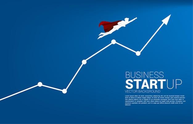 Silhouette des geschäftsmannes, der zum wachstumsliniendiagramm fliegt. geschäftsbanner für start-up und schnell wachsendes unternehmen.