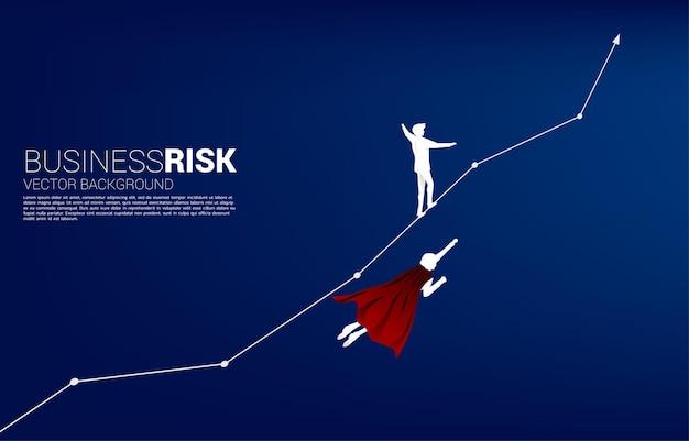 Silhouette des geschäftsmannes fliegen konkurrieren mit dem mann, der auf dem liniendiagramm geht. konzept für geschäftsrisiko und karriereweg
