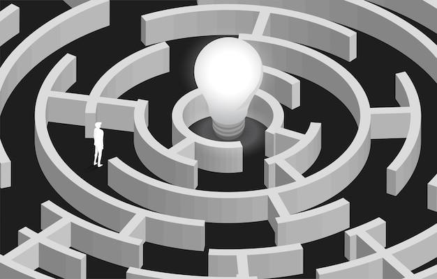 Silhouette des geschäftsmannes im labyrinth, der weg zur glühbirne findet. konzept zur problemlösung, lösungsstrategie und idee.